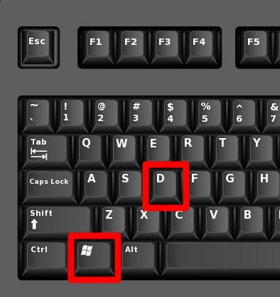 Windows Keyboard shortcut windows + d desktop