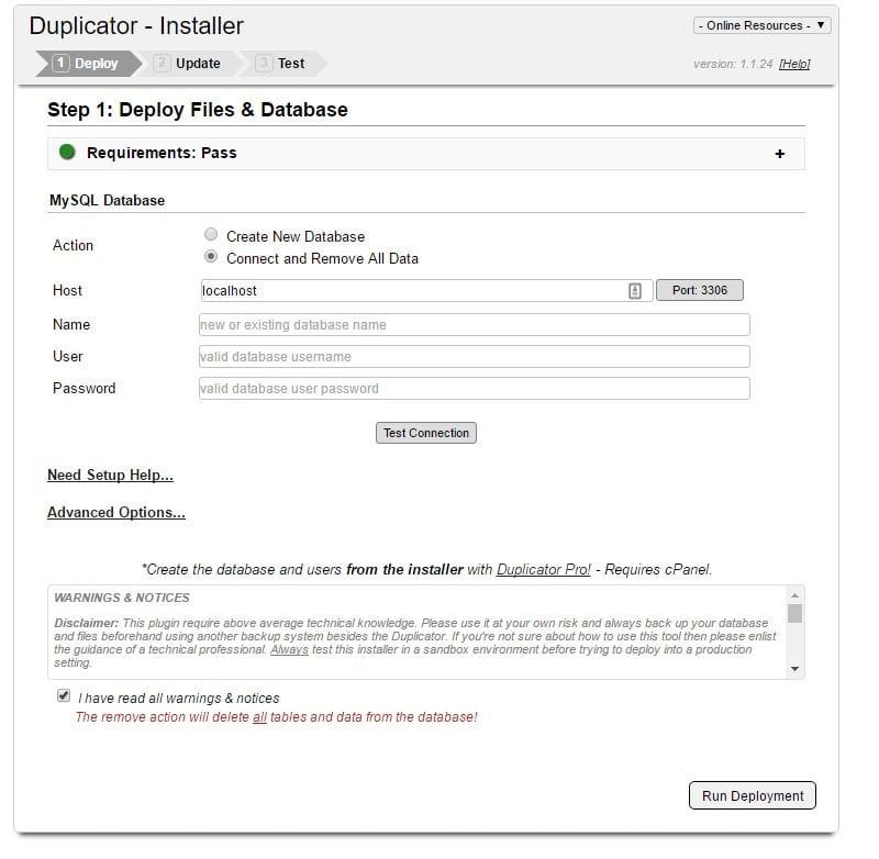 duplicator wordpress plugin