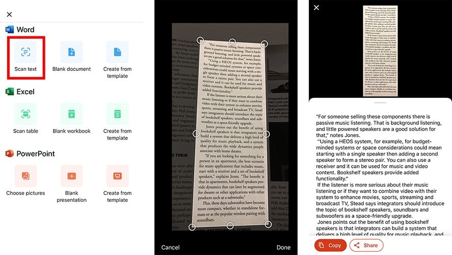 scan text to microsoft office app