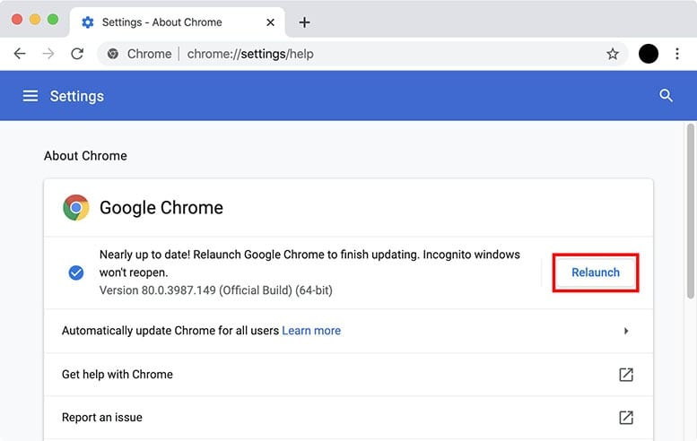Update Chrome to the Latest Version speed