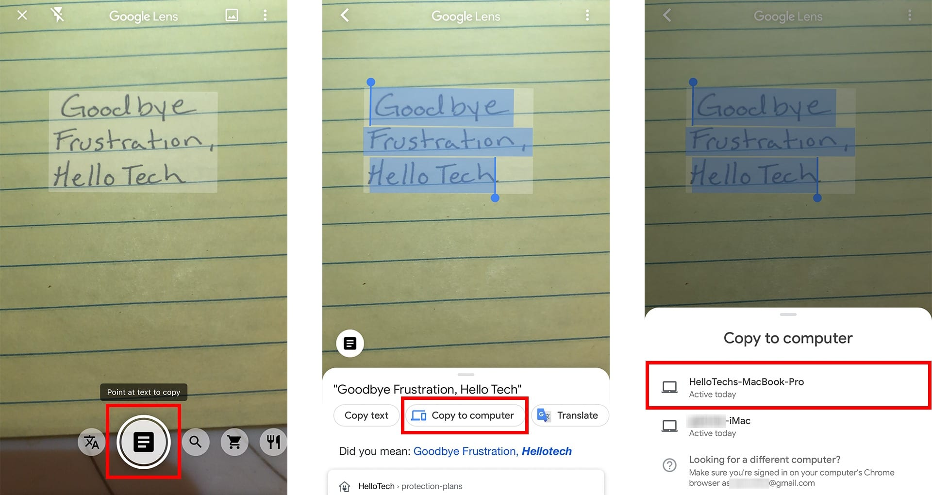 how to scan handwritten text with Google Lens