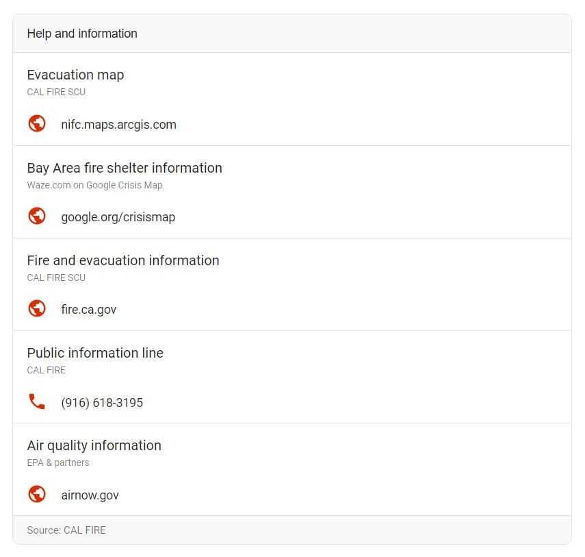 google fire map help and information