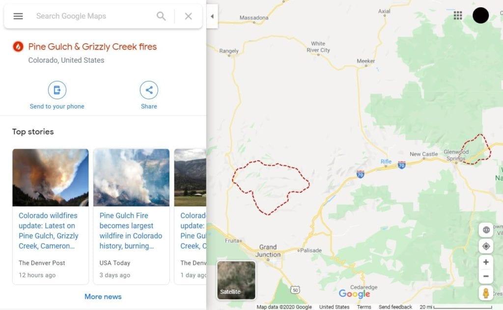 google maps pine gulch fire