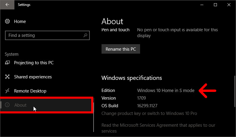 how to check if you have windows 10 s mode installed