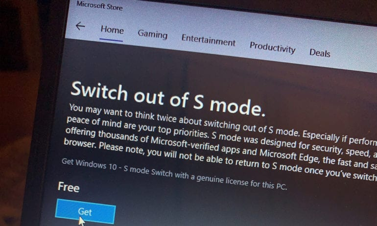 how to switch out of windows 10 s mode