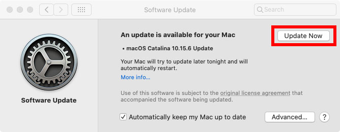 mac software update update now