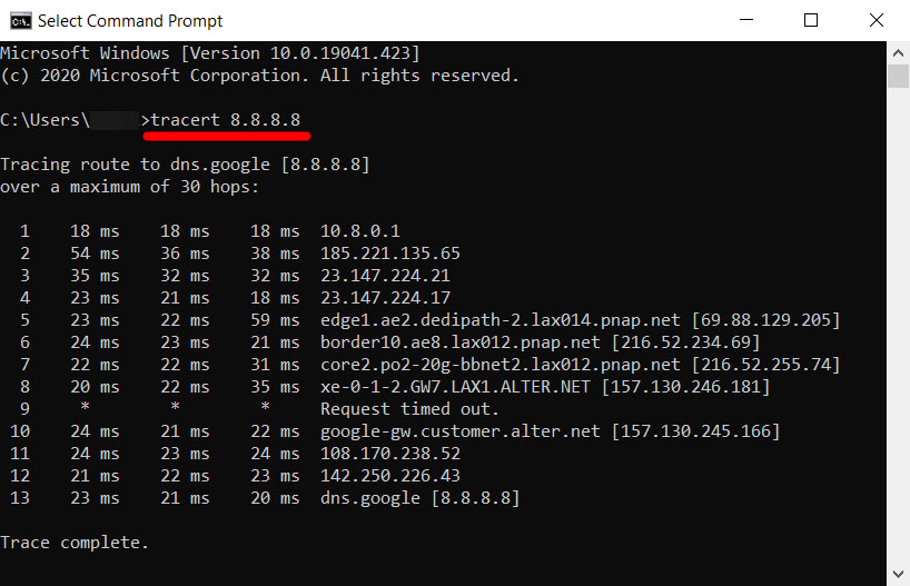 traceroute-google-dns-vpn wifi not working
