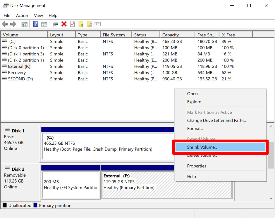 how to Partition an External Drive in Windows 10