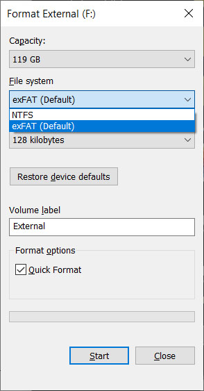 how to format a hard drive in windows 10 choose format