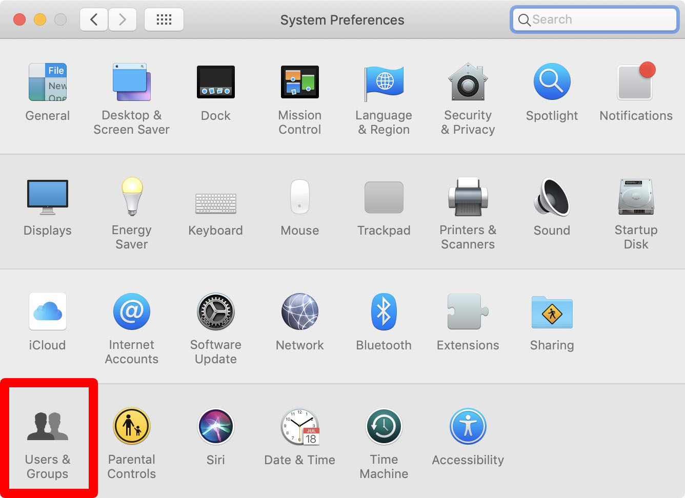 mac system preferences users and groups