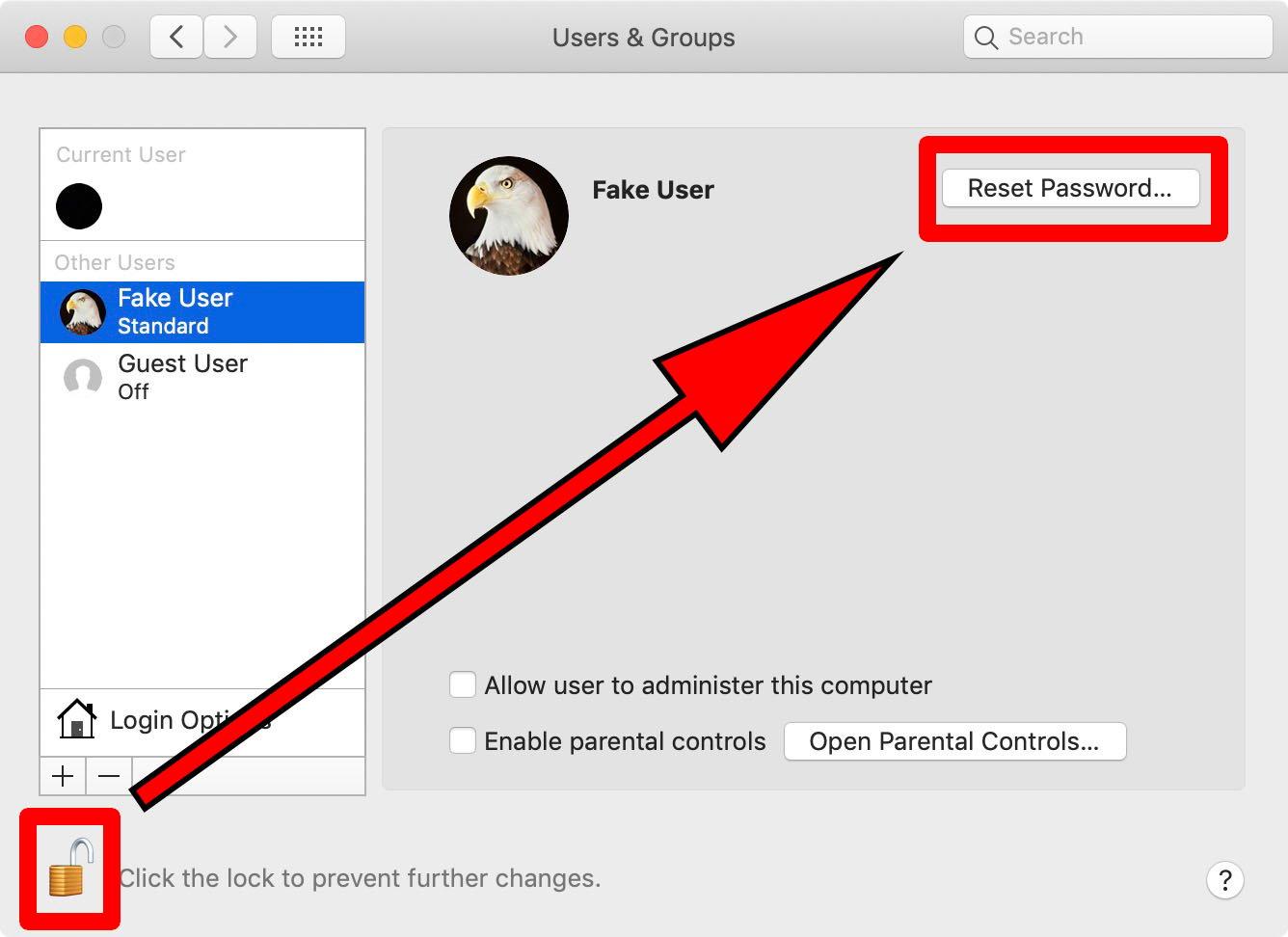 reset password mac system prefernces