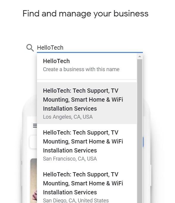 Google my business find
