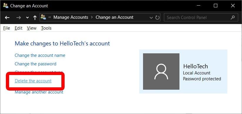delete a uer account