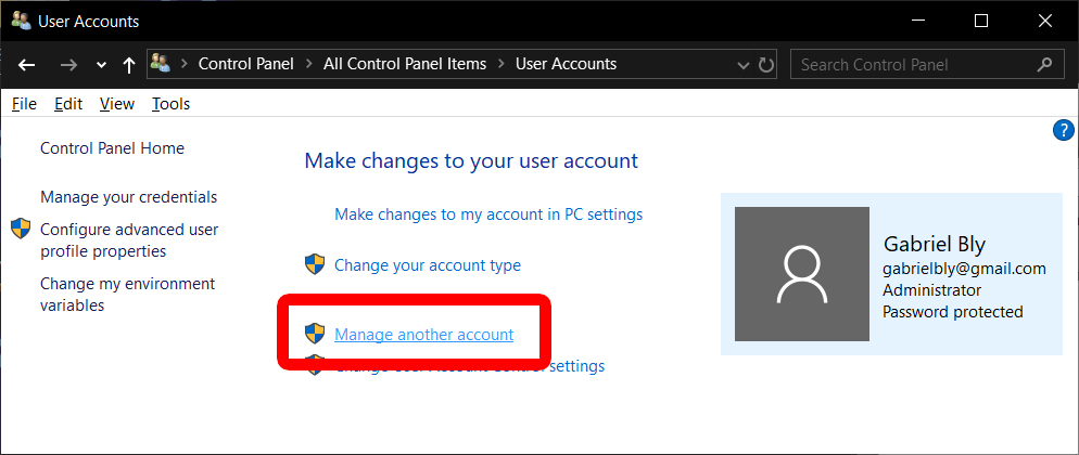 manage another account windows user accounts