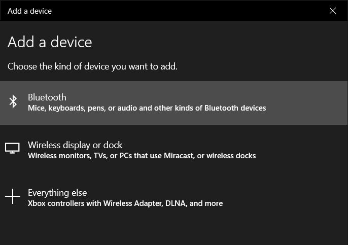 windows 10 settings devices bluetooth add a device
