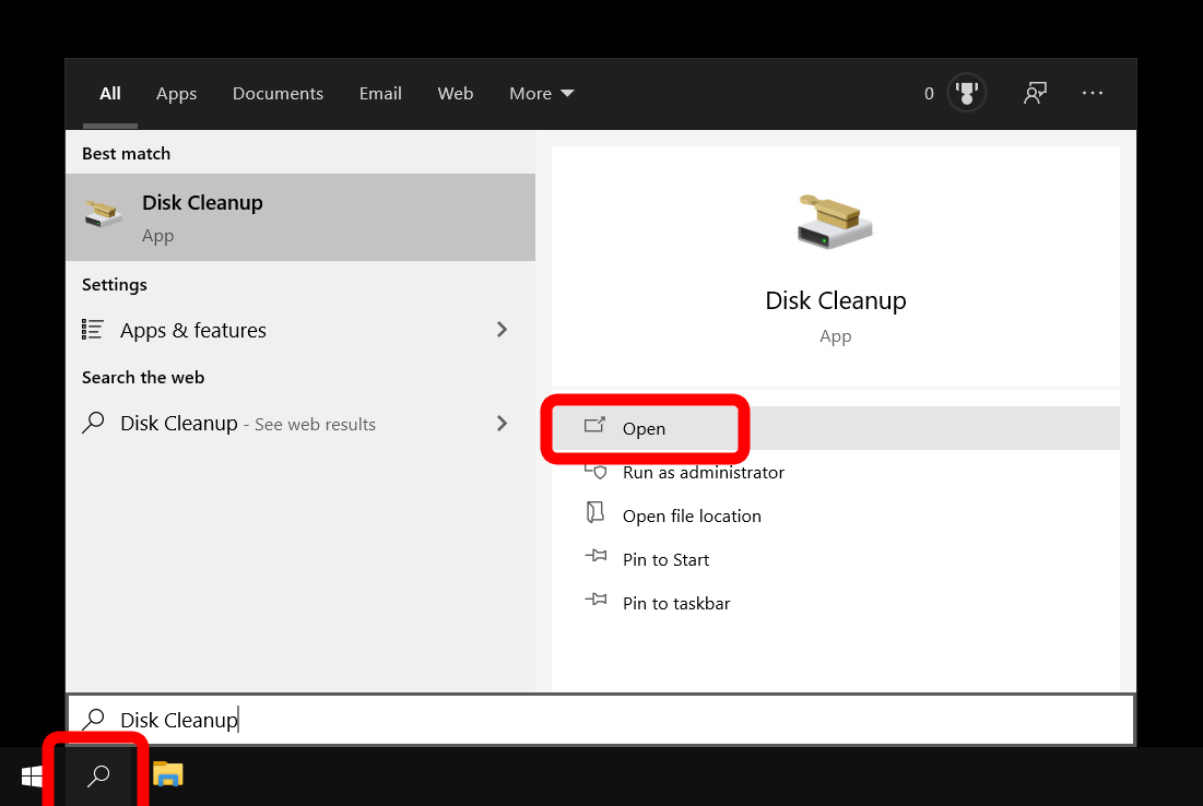 windows search bar disk cleanup