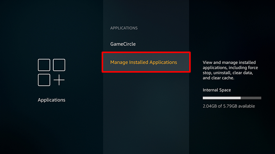 firestick applications manage installed applications