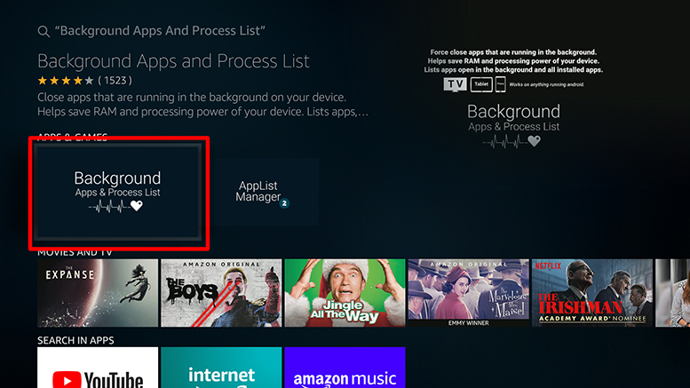 firestick background apps and process list app