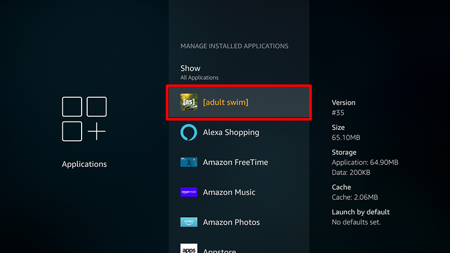 firestick manage installed applications select an app