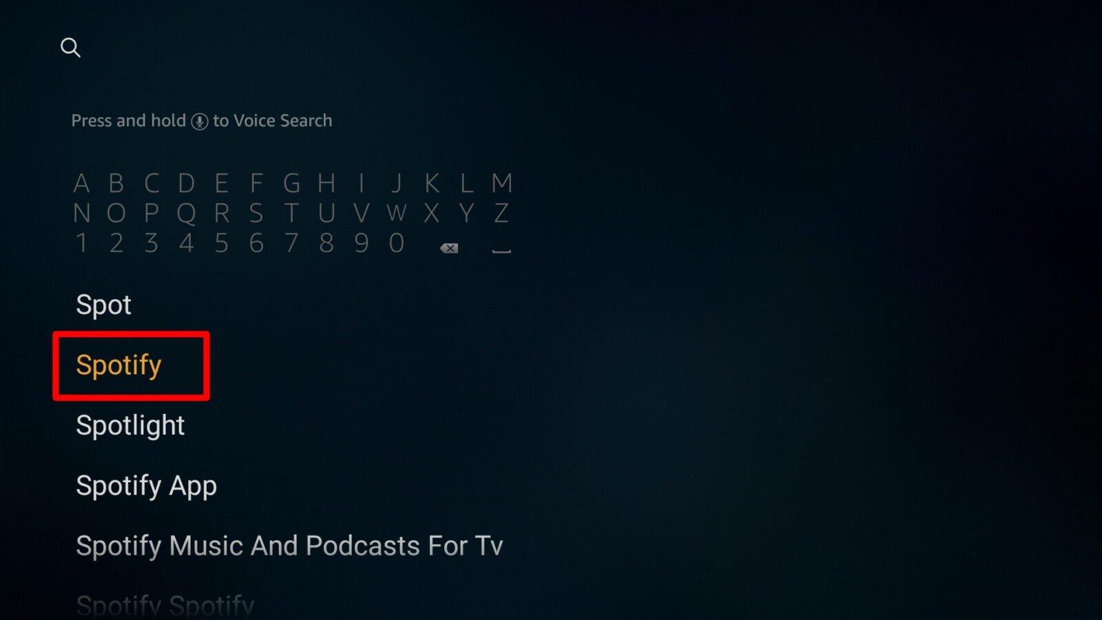 firestick search spotify