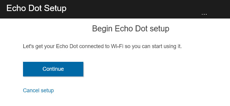 continue to set up device