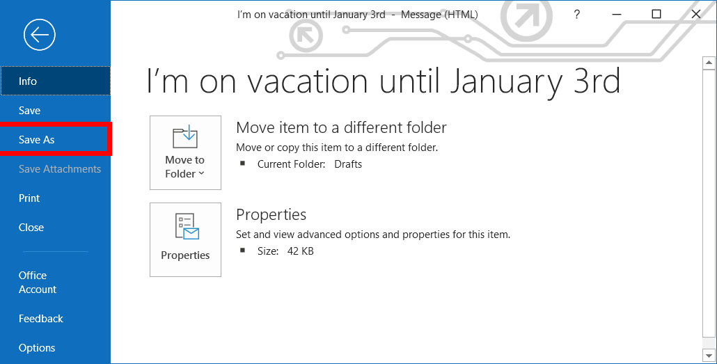 outlook new email save as
