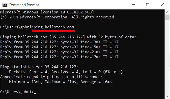 how to ping test windows 10