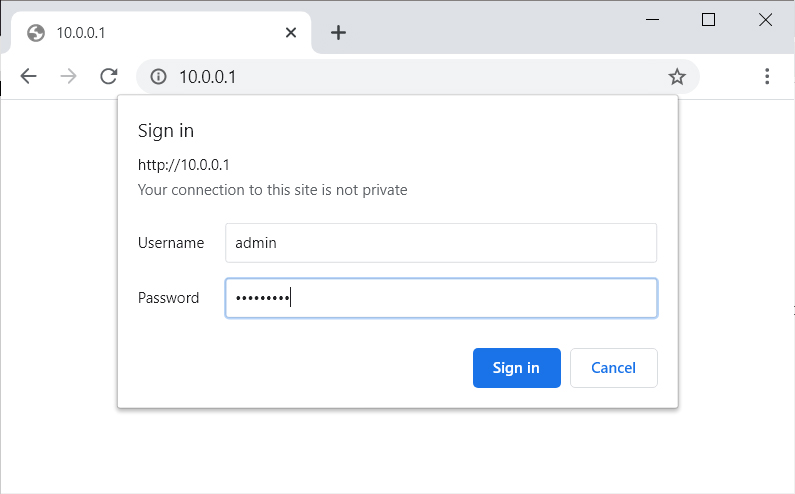 sign in to router