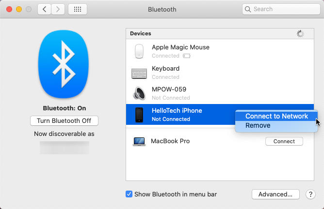 How to Connect to Your iPhone Hotspot via bluetooth