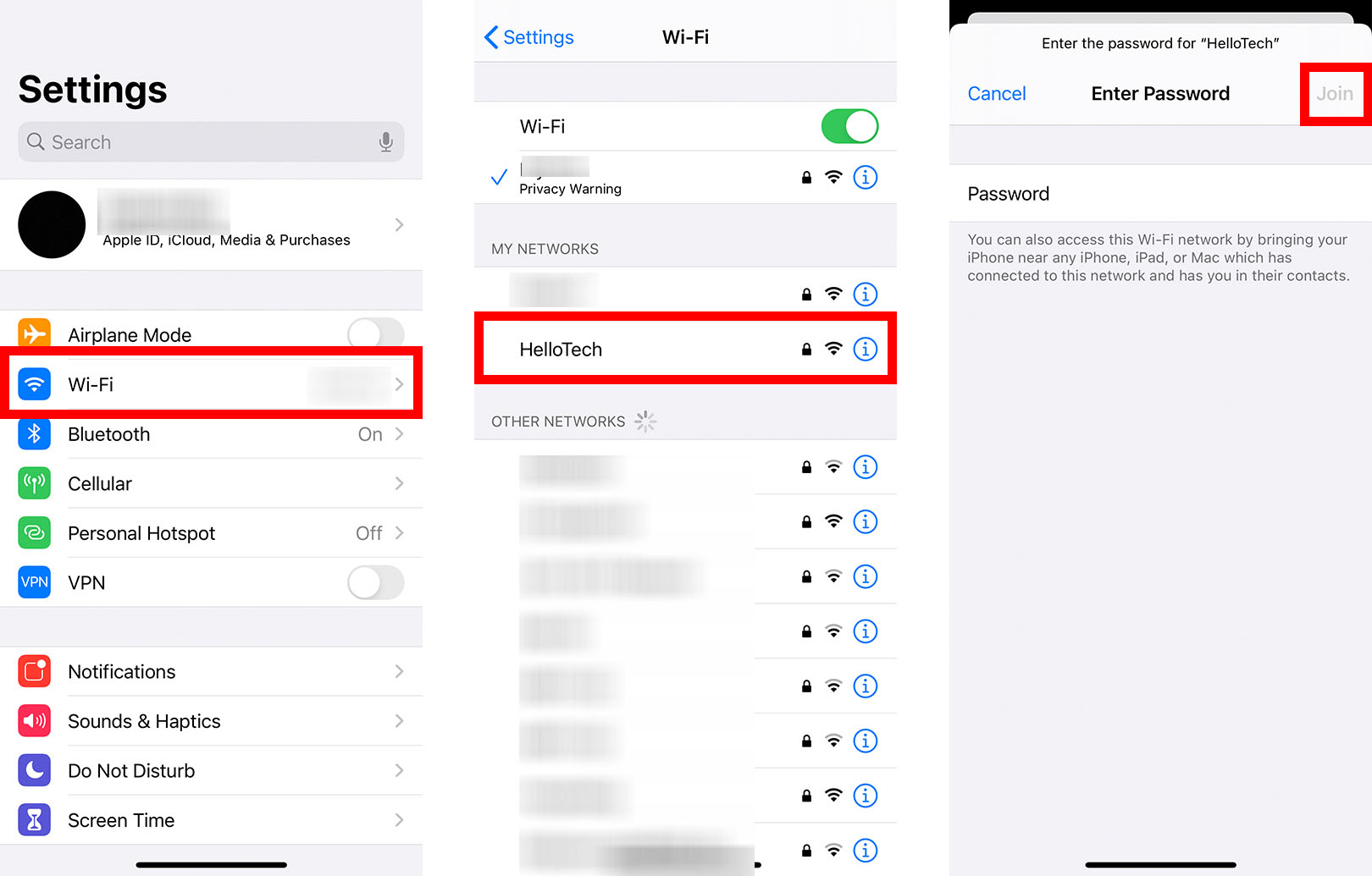 how to connect to WiFi iphone